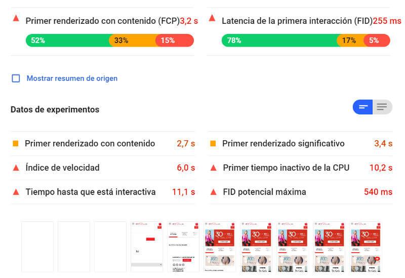 Velocidad de carga de la página de inicio de De Prati según Google Page Speed Insights.