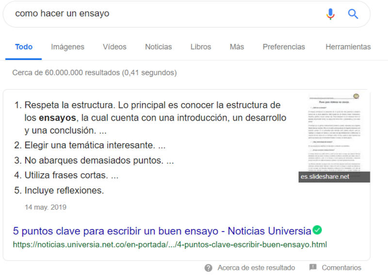 Featured Snippet con imagen.