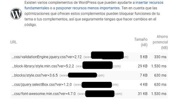 CSS y javascript frenan la velocidad de carga.