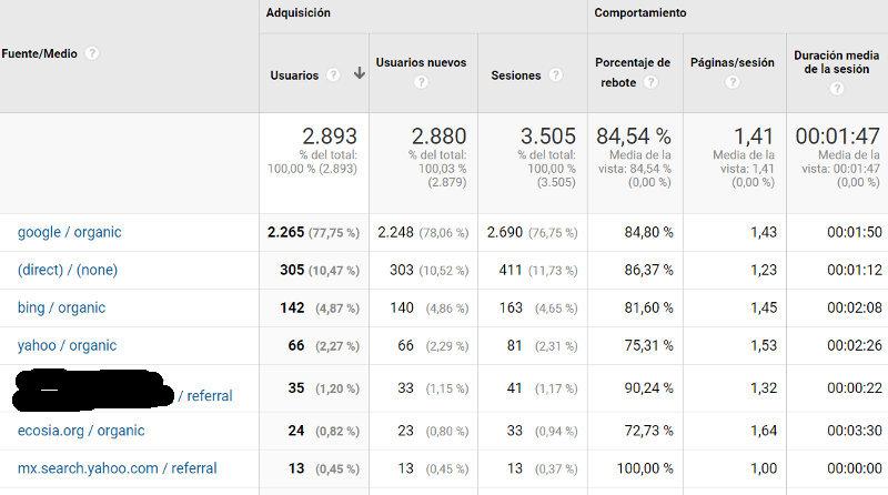 Tráfico web - motores de búsqueda..