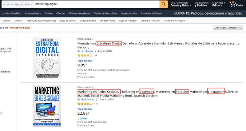 Resultado de búsqueda en Amazon.