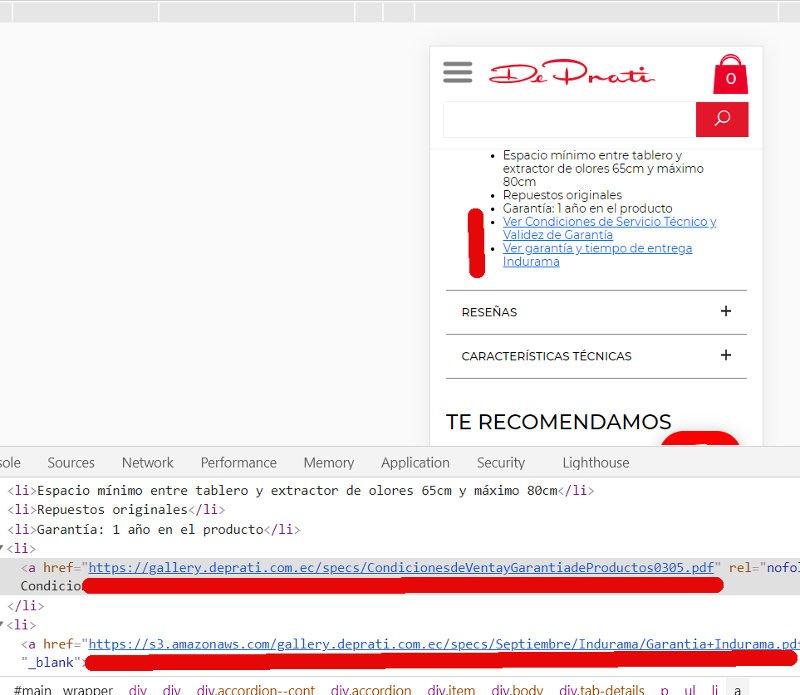 Enlaces a archivos pdf en el sitio de Deprati.