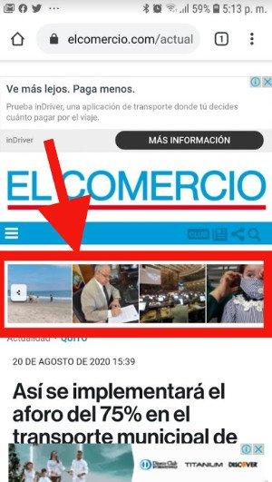 El Comercio: imágenes en la versión móvil.