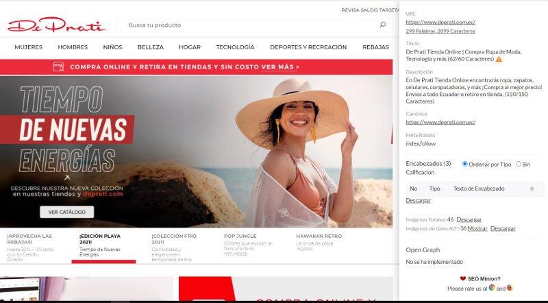 Revisión del sitio web de De Prati con SEO Minion.