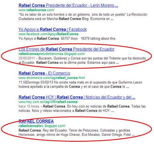 Google Ecuador 2013: resultados por rafael correa.
