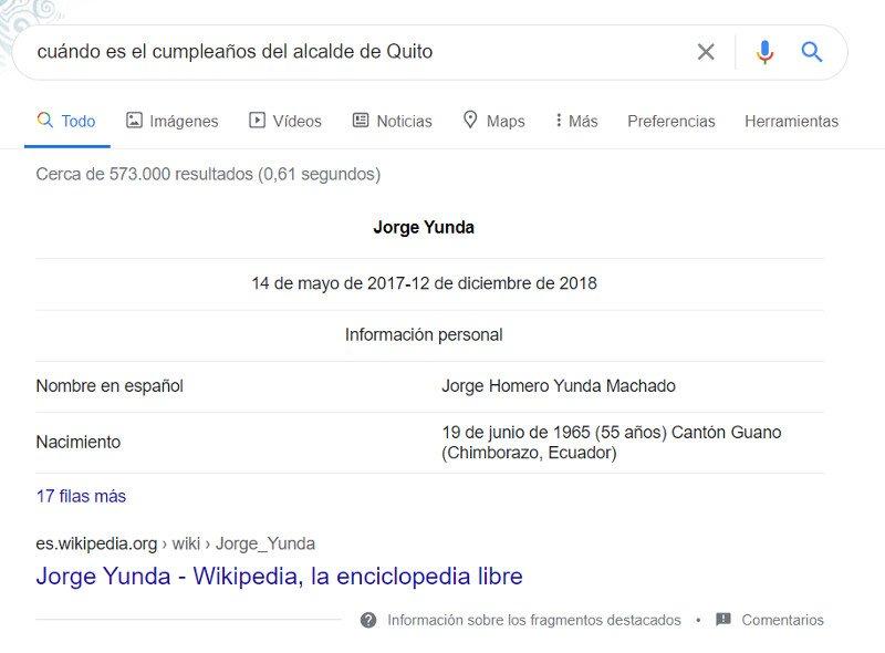 Respuesta de Google: fecha de nacimiento del alcalde de Quito.