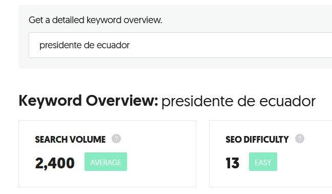 Volumen de búsqueda por presidente de Ecuador en Ubersuggest..