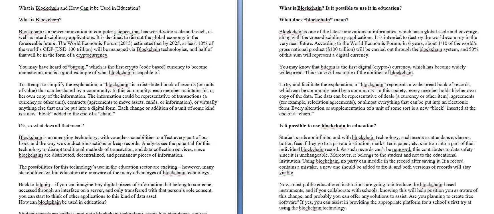 Рерайт текста на английском языке по криптотематике (blockchain