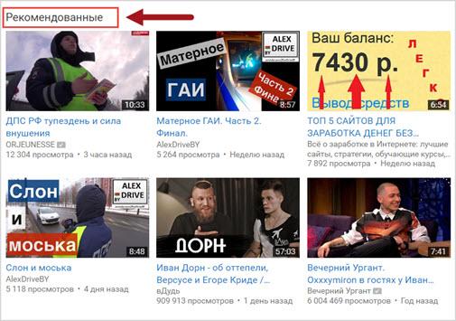 Esimerkki suosituksista YouTubesta