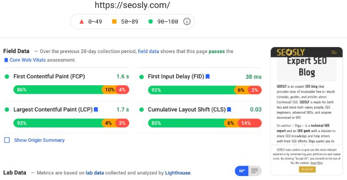 Field data in Google PageSpeed Insights