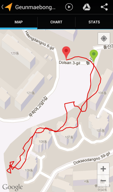 Geunmaebong (17:03, 0.58 km)