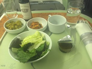 Starter salad, side dishes and, of course, wine.
