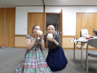 Eating coconuts on a hot day