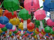 Lanterns for Buddhas Birthday outside of a Buddhist place