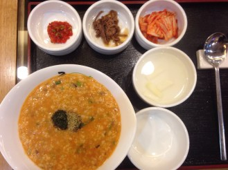 'Juk' Korean Porridge - This was a spicy seafood juk.