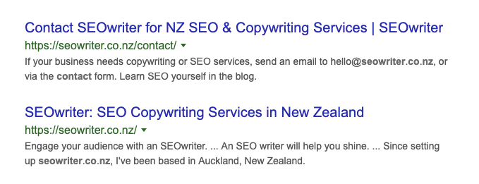 screenshot of seowriter search results