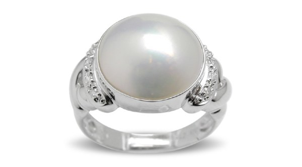 X Style Mother of Pearl Ring - 12 mm x 12.75 mm