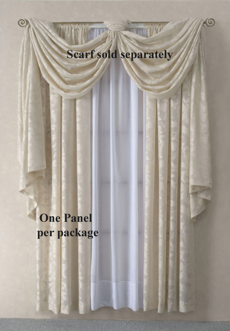 Scarf Valances Solid Colored Sheer Patterned