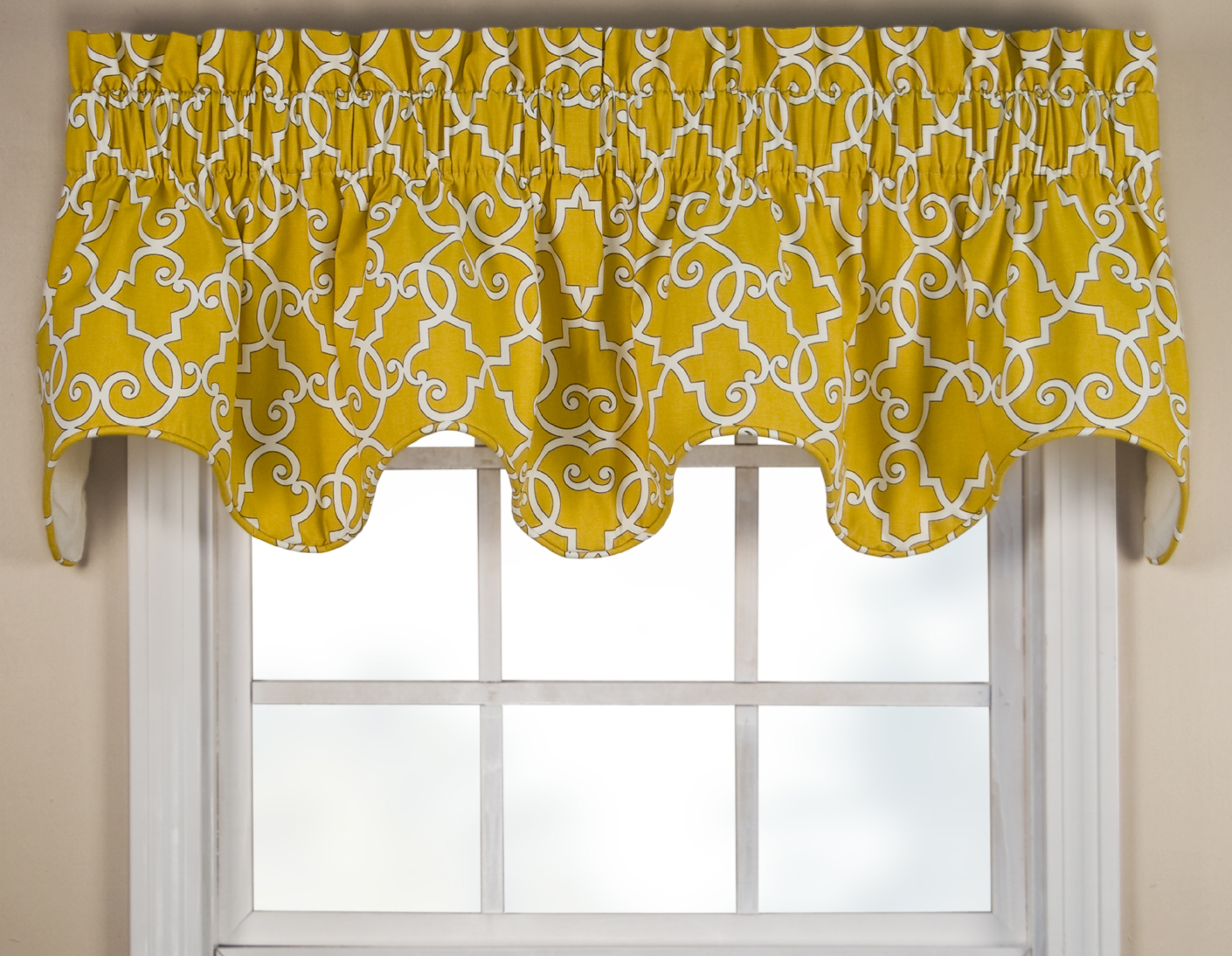 Scalloped Valances Patterned Solid Colored Double