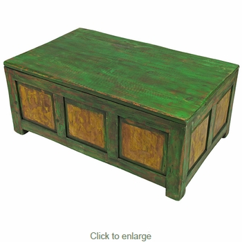 Painted Wood Trunk Coffee Table Distressed Green Amp Yellow