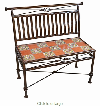 Small Wrought Iron Bench With Talavera Tiles