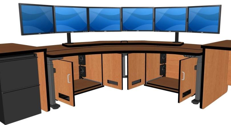 Control Room Furniture   Corner Computer Desk    RFQ1778 FP84   CA     CONTROL ROOM DESK   CORNER COMPUTER DESK INCLUDES TWO CPU CABINETS  FOCAL  PLATFORM FOR MONITORS   RFQ1778 FP84   READ MORE BELOW