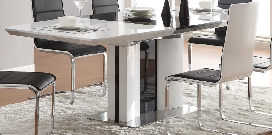 Modern 5PC High Quality Metal Dining Room Table 4 Chairs
