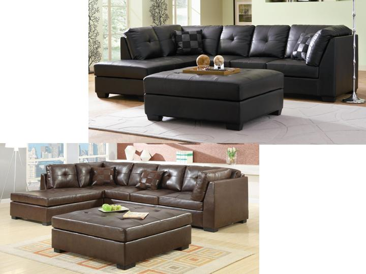 Darie Leather Sectional Sofa With Left Side Chaise www