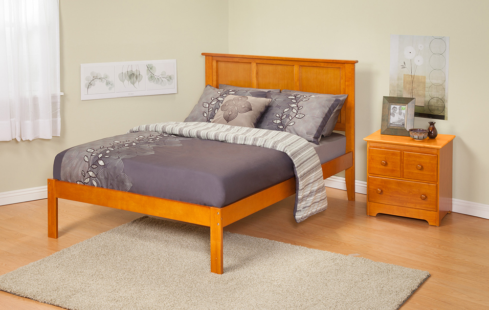 Contemporary Madison Queen Size Platform Bed Open Foot Rail Atlantic Furniture