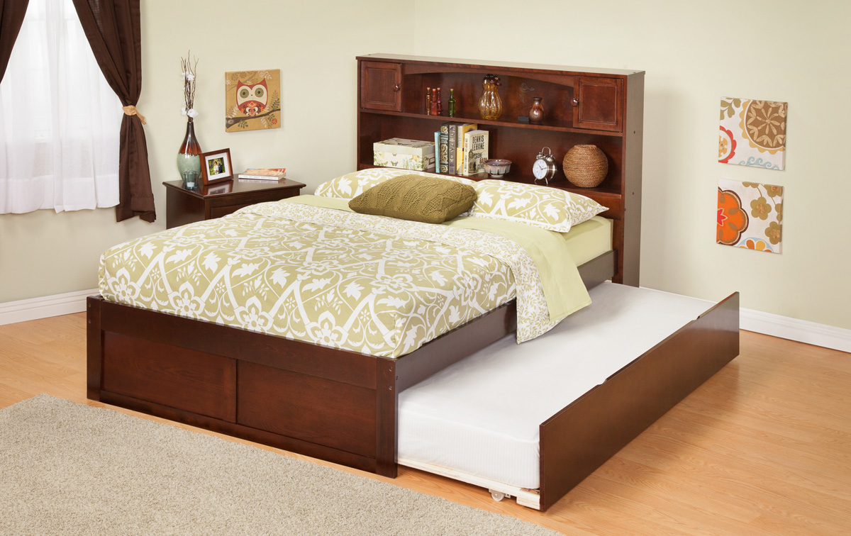 Contemporary Newport Bookcase Twin Size Platform Bed Flat