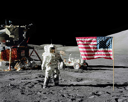 Apollo 17 Astronaut Harrison Schmitt & Flag Photo Print ...