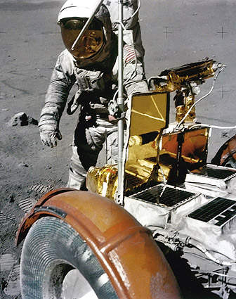 Apollo 17 Astronaut Harrison Schmitt with Lunar Rover ...