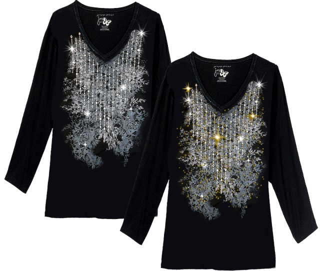Sparkly Silver Black Diamond Lines Glittery Plus Size Long Sleeve T Shirt