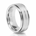 TRAXX 9MM Double Grooved Tungsten Ring Triton Mens