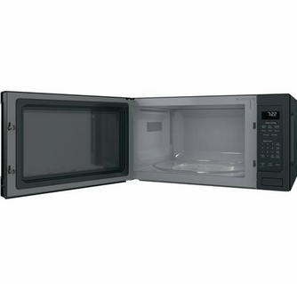 pes7227fmds ge profile 24 2 2 cu ft countertop microwave with control lockout and sensor cook black slate