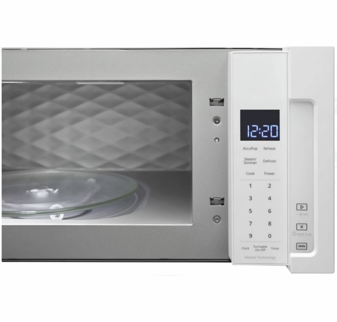 wml75011hw whirlpool 30 1 1 cu ft over the range low profile microwave hood combination with tap to open door and 400 cfm venting system white