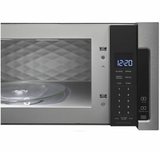 wml75011hz whirlpool profile 30 1 1 cu ft over the range low profile microwave hood combination with tap to open door and 400 cfm venting system