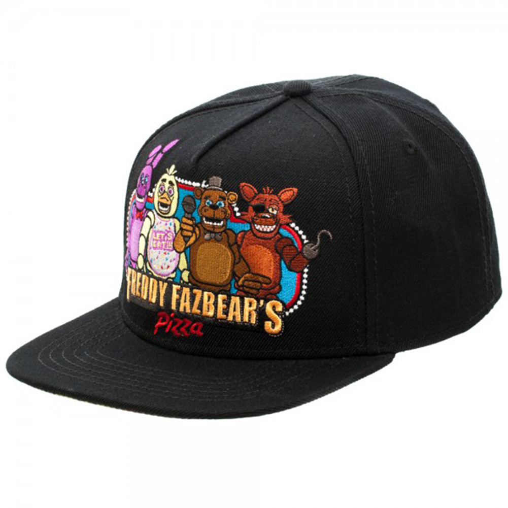 Official Five Nights At Freddys Freddy Fazbears Pizza Black Snap Back Hat