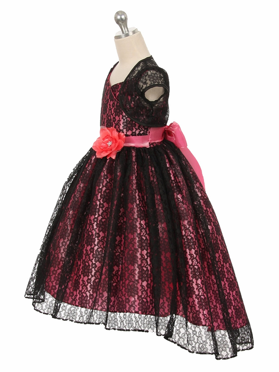 High Low Black Coral Floral Lace Dress W Matching Bolero