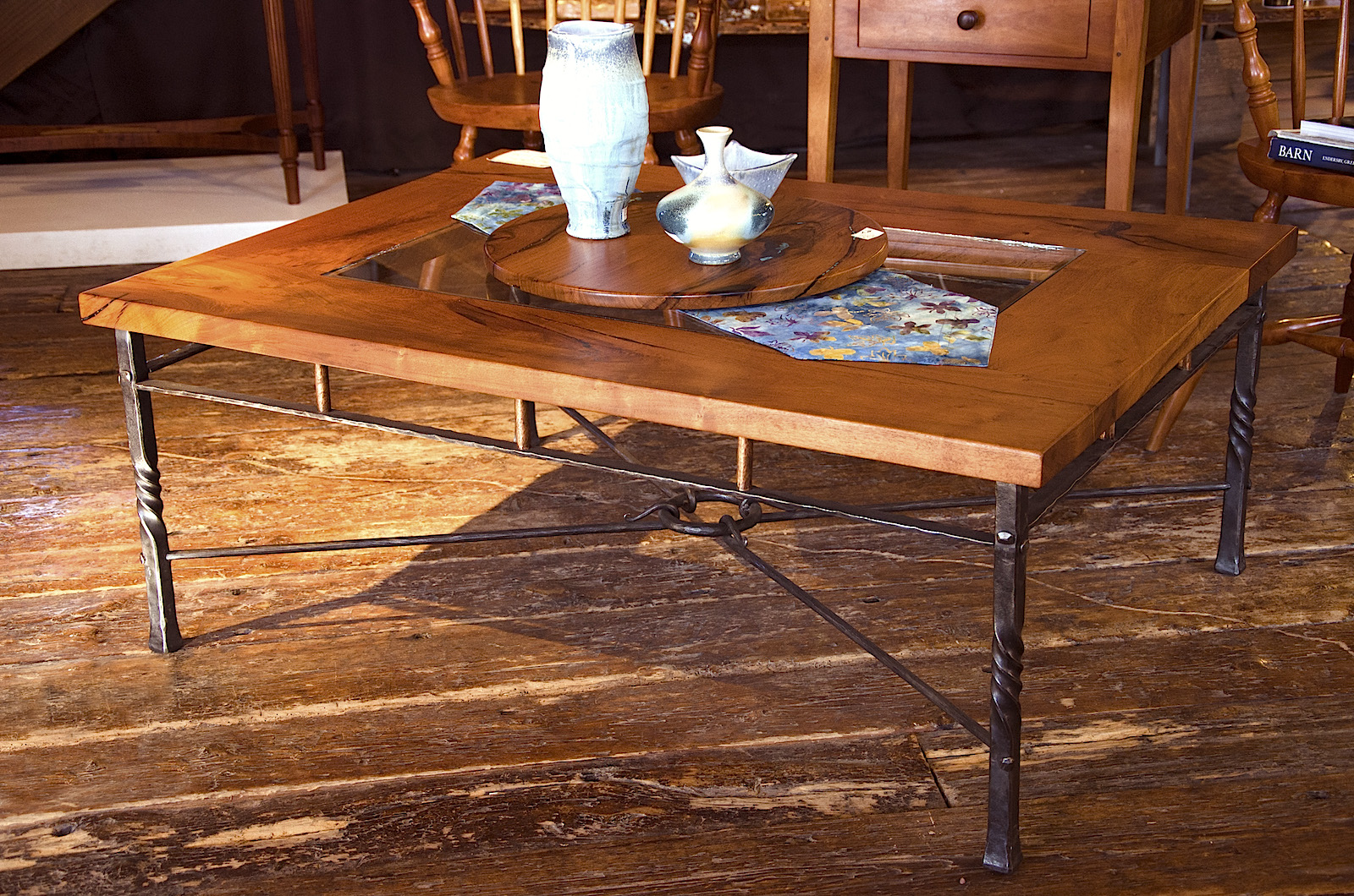 mesquite and wrought iron coffee table
