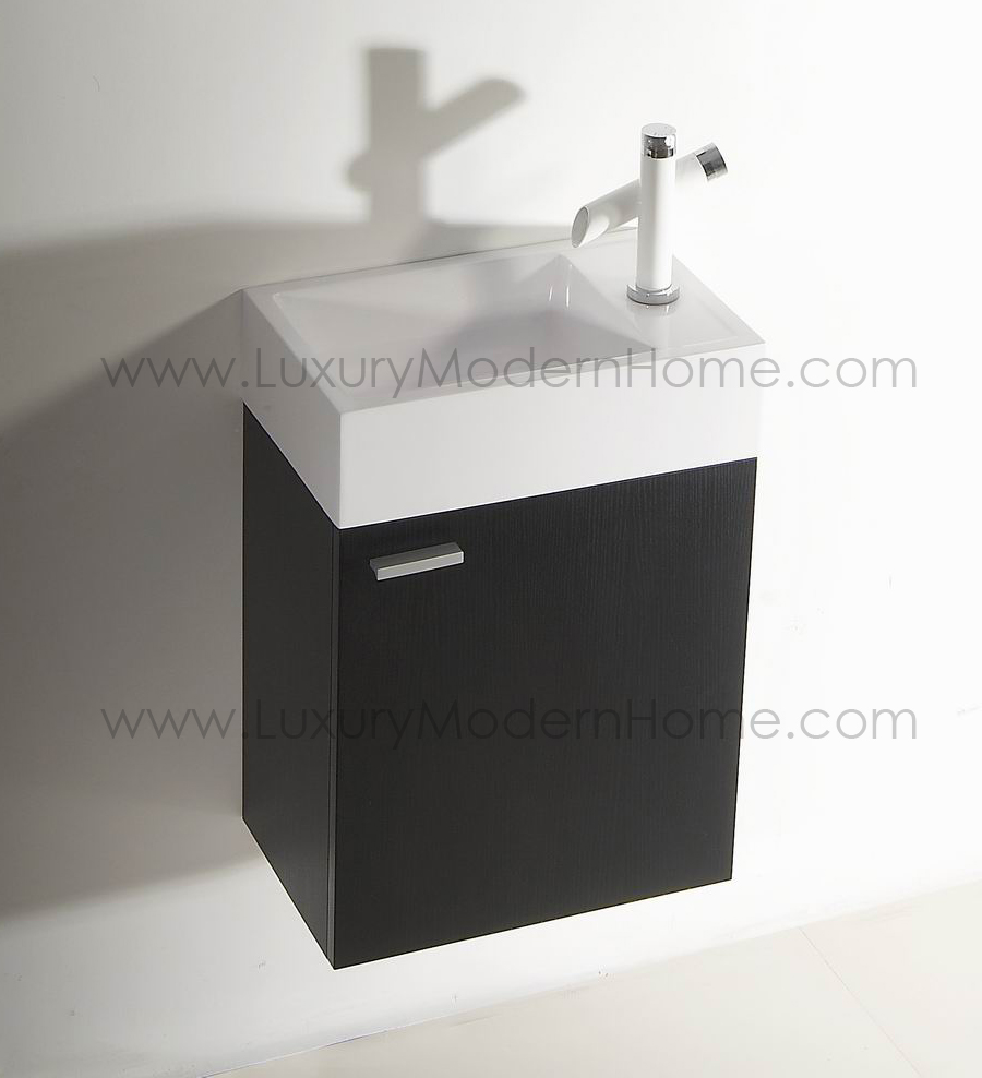 ALEXIUS   16  x 10  Narrow Black Vanity Sink