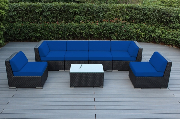 Beautiful Outdoor Patio Wicker Furniture Deep Seating 7pc Couch Set New Click to Enlarge      Ohana Outdoor Wicker Patio Furniture 7 Piece Sectional  Conversation