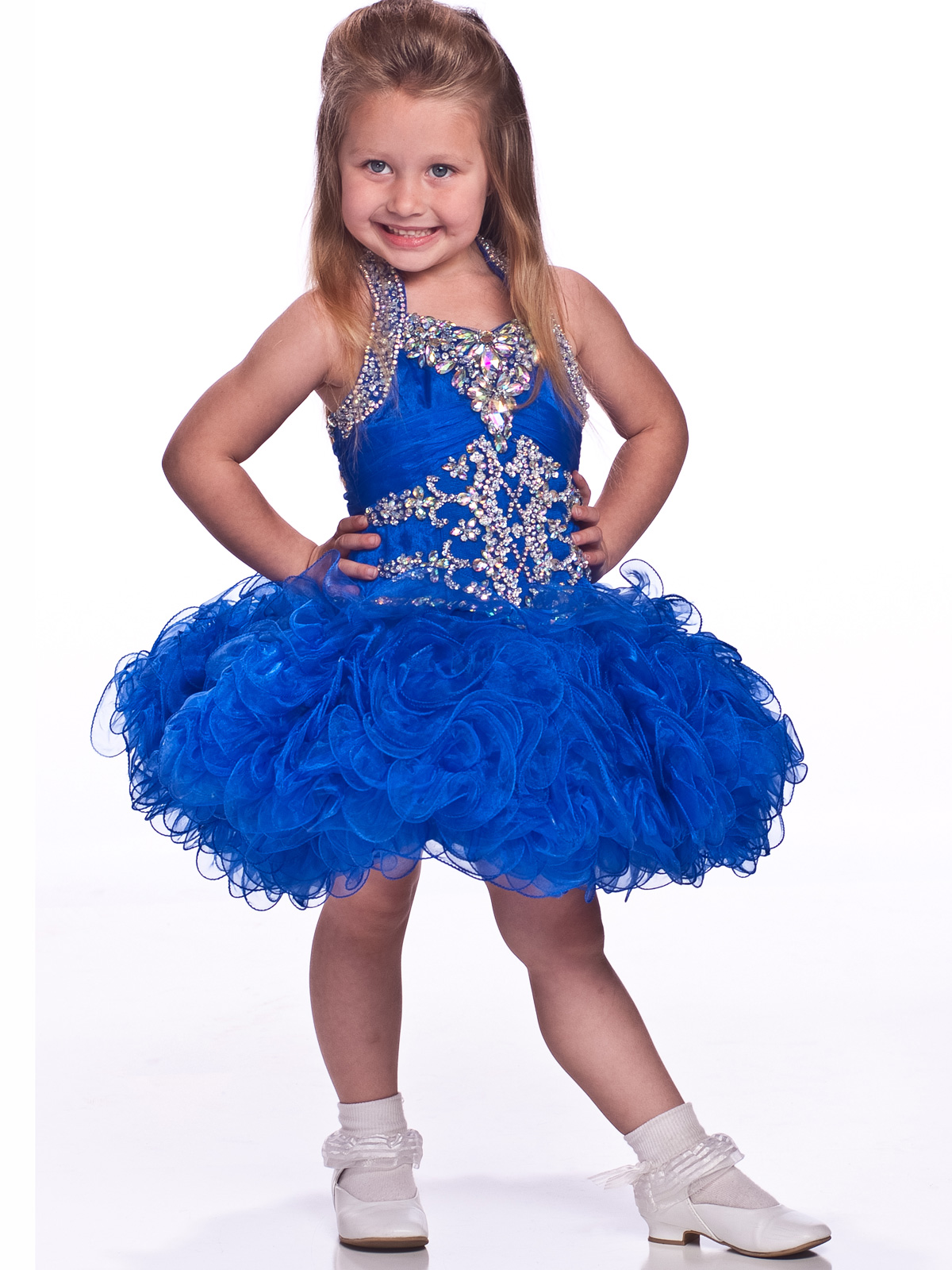 Halter Ruffled Skirt Girls Short Pageant Dress By Unique Fashion     Beaded Shoulder Straps Unique Fashion Short Pageant Dress For Girls UF1090
