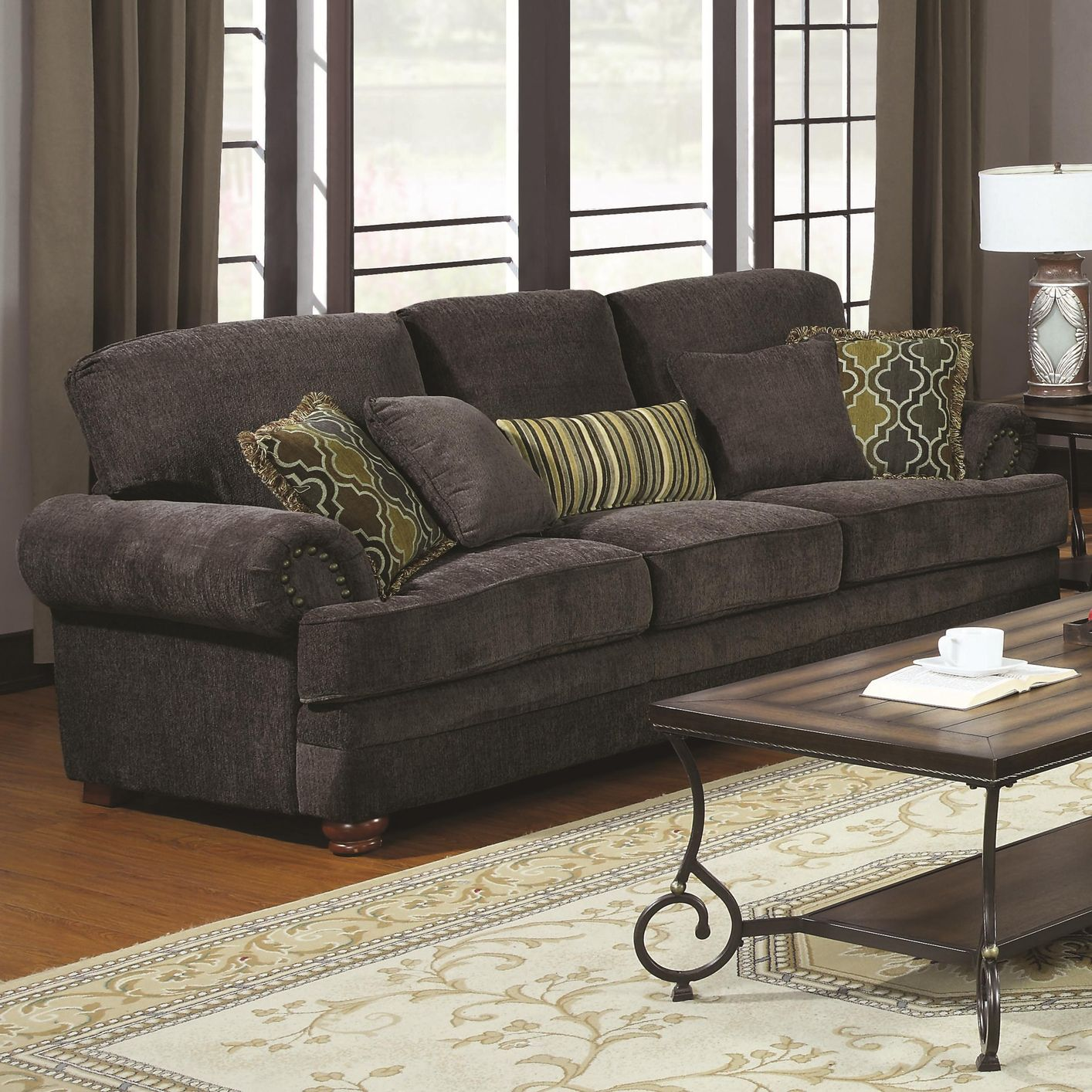 Hi we have open plan new home and please help me to choose pillow colors for my black leather sofa n loveseat, our living room area rug is silver grey with dark. Grey Fabric Sofa - Steal-A-Sofa Furniture Outlet Los ...