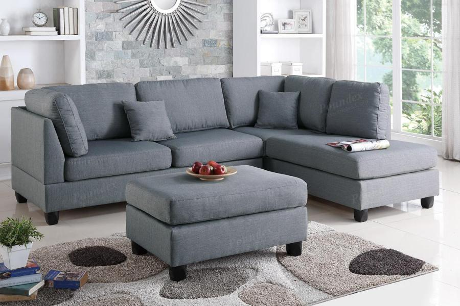 Grey Fabric Sectional Sofa and Ottoman   Steal A Sofa Furniture     Courtney Grey Fabric Sectional Sofa and Ottoman