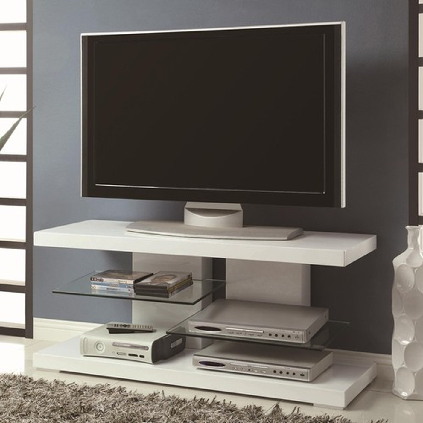 White Glass TV Stand Steal A Sofa Furniture Outlet Los Angeles CA