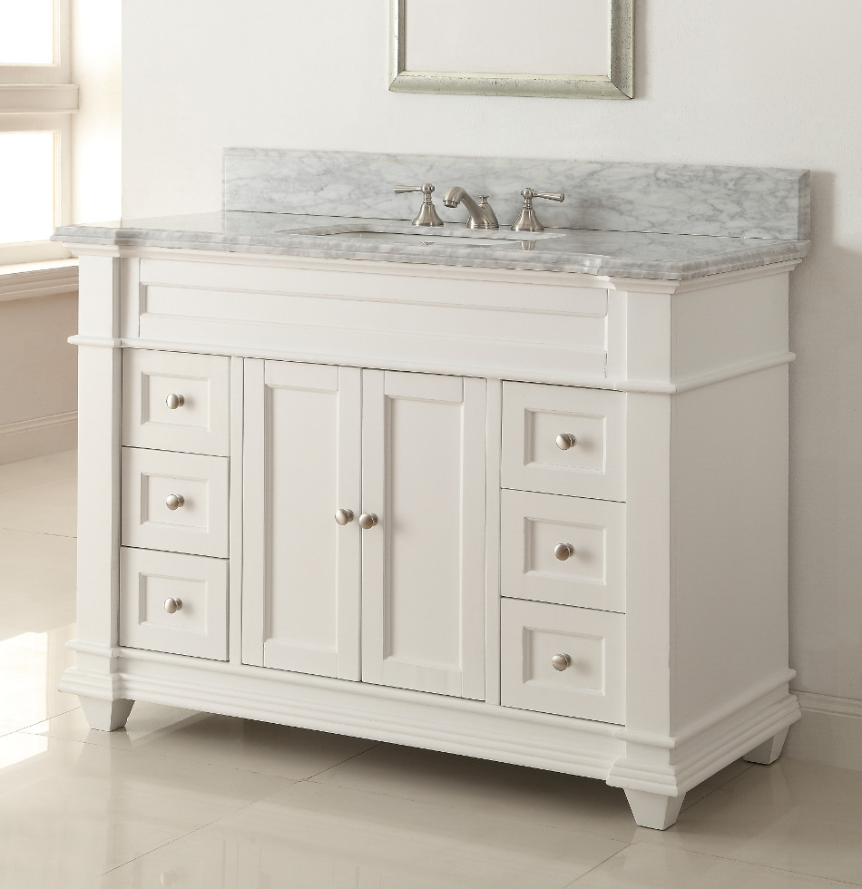 Best Kitchen Gallery: 48 Inch White Shaker Bathroom Vanity Cottage Beach Style Carrara of Bathroom Vanities Cabinets on rachelxblog.com