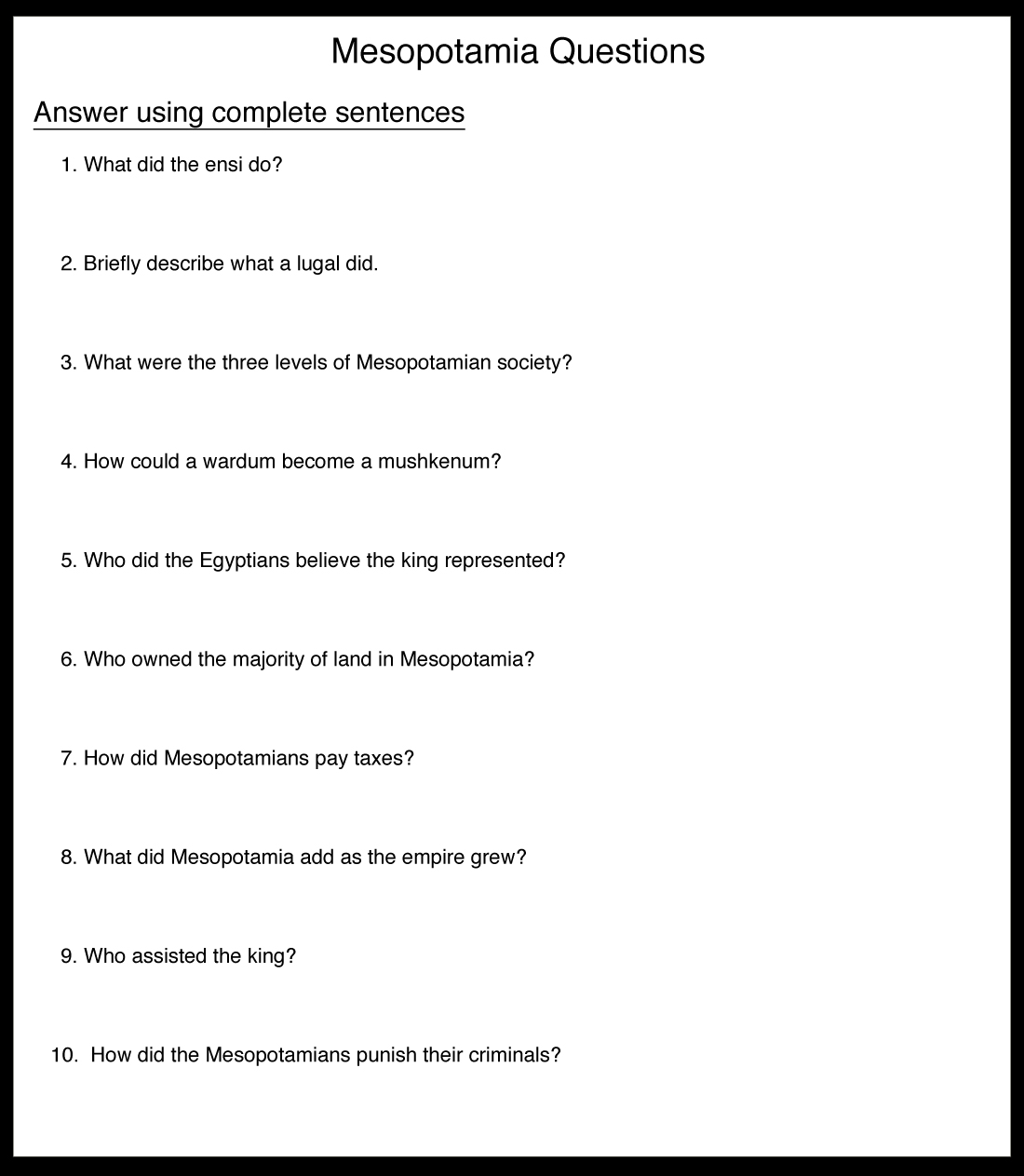 Ancient Mesopotamia Religion Worksheet