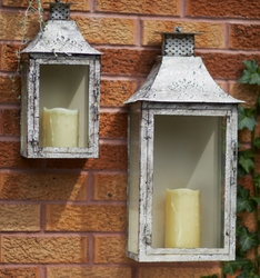 Antique Cream Iron Wall Candle Lanterns Candle Holders Set Of 2 Candle Accessories Melrose
