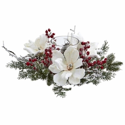 6 5  Frosted Magnolia Flower   Berry Artificial Arrangement     6 5  Frosted Magnolia Flower   Berry Artificial Arrangement Candelabrum